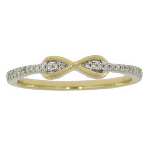Diamond Accented Yellow Gold Infinity Ring